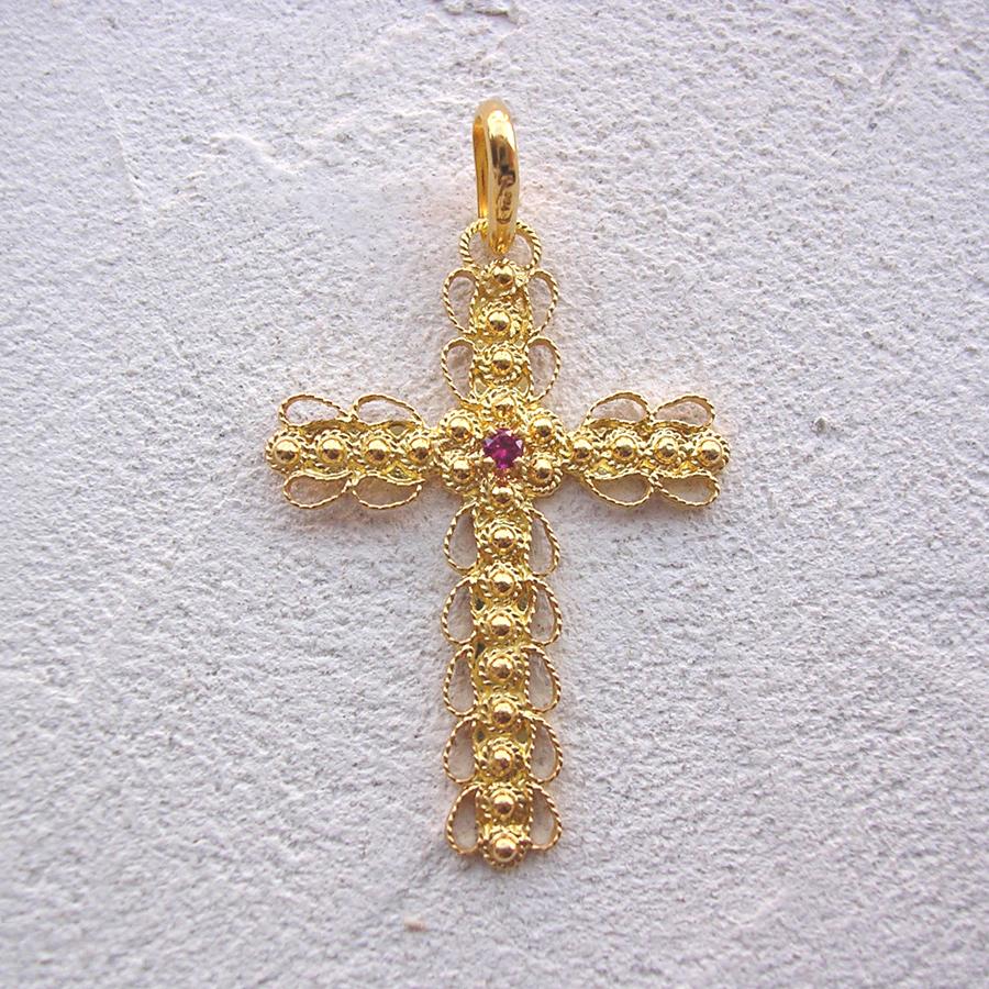 ART 112 - Croce d' oro in filigrana con pietra