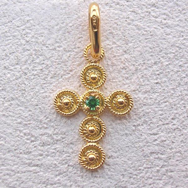 ART 124 - Croce d' oro in filigrana con pietra - Dettaglio