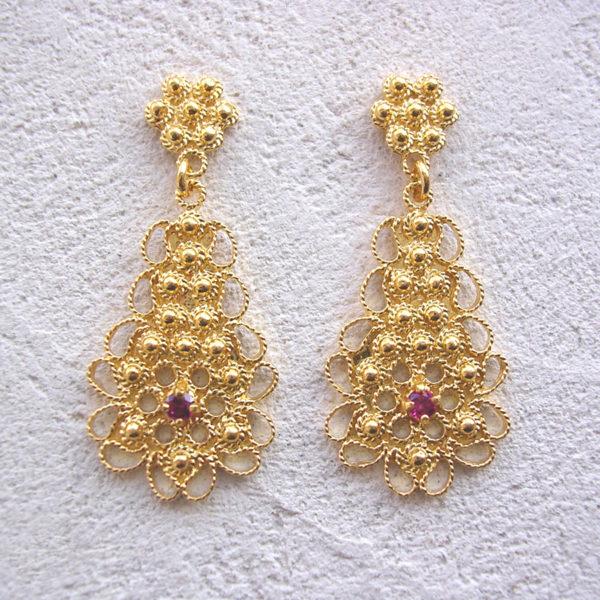 ART 314 - Orecchini d'oro in filigrana con pietra